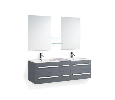Móvel de casa de banho - Cinza - 2 Lavatórios - Armário e gavetas - 2