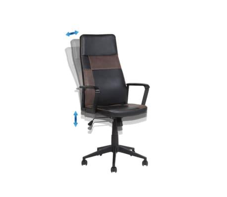 Krzesło biurowe czarne/brązowe regulowana wysokość DELUXE[6/12]