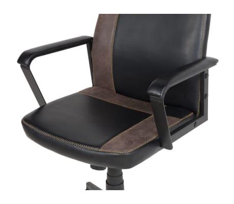 Krzesło biurowe czarne/brązowe regulowana wysokość DELUXE[7/12]
