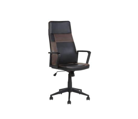 Krzesło biurowe czarne/brązowe regulowana wysokość DELUXE[1/12]