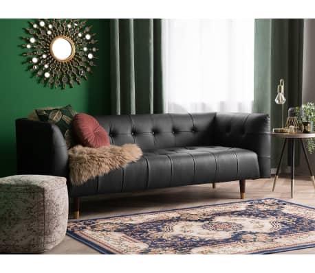 3 Sitzer Sofa Leder Schwarz Byske Günstig Kaufen Vidaxlde