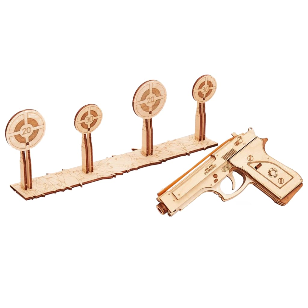 Wood Trick Kit machetă de tir cu pistol, lemn vidaxl.ro