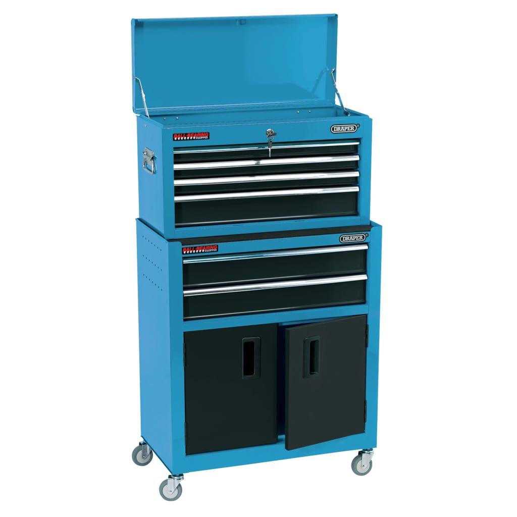 Draper Tools Dulap cu roți și dulap unelte, albastru, 61,6x33x99,8 cm imagine vidaxl.ro