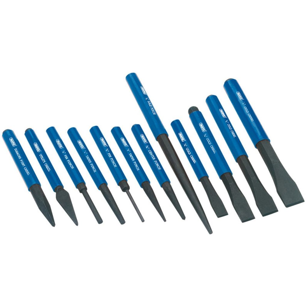 Draper Tools Koudbeitel en drevel set blauw 12-dlg 26557