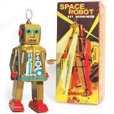 SPARKLING ROBOT - Retro Tin Collectable Ornament - Gold