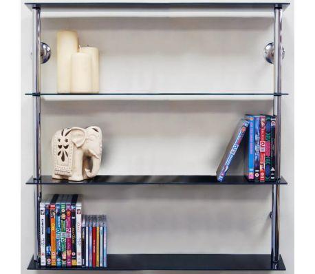 Wall Mounted Gl 195 Cd 140 Dvd Storage Shelves Black Silver