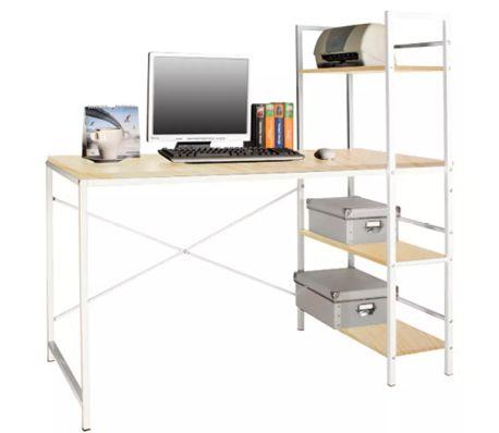 Miraculous Wickford Workstation Office Desk With Storage Shelves Maple Download Free Architecture Designs Estepponolmadebymaigaardcom