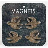 Metal Set of 4 Bird Metal Memo / Notice Board / Note Magnets - Bronze