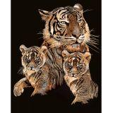 Tableau Scraper à gratter Cuivre Le tigre et ses petits - Scraper