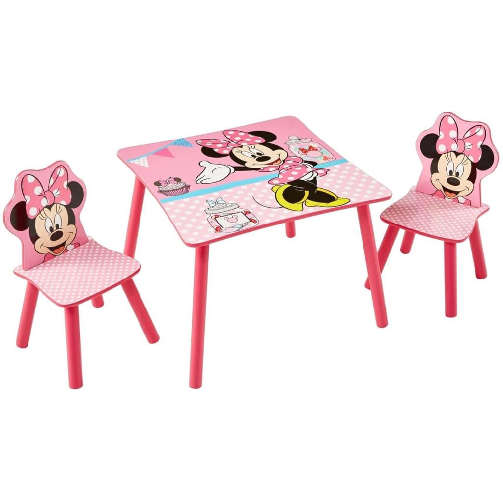 Afbeelding van Disney Tafel met 2 stoelen Minnie Mouse roze 63x63x45 cm WORL222013