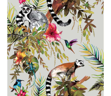 DUTCH WALLCOVERINGS Tapet model lemur, argintiu