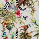 DUTCH WALLCOVERINGS Tapetai, sidabrinės spalvos, su lemūrais