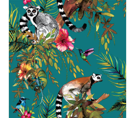 DUTCH WALLCOVERINGS Tapet lemur grön 12402