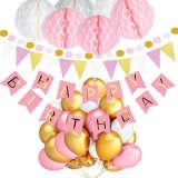 """Ensemble """"Joyeux anniversaire"""" avec des ballons roses, blanc"""