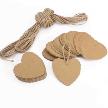 100x Chanes En Forme De Coeur En Papier Pendentifs Cadeaux tiquett[2/7]