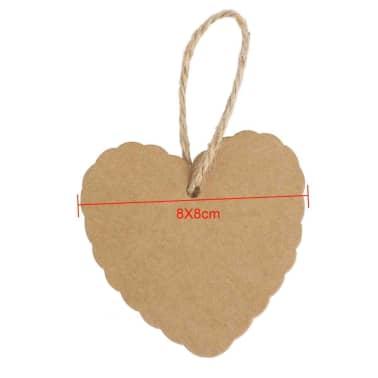 100x Chanes En Forme De Coeur En Papier Pendentifs Cadeaux tiquett[3/7]