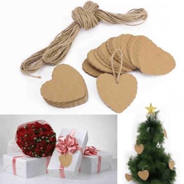 100x Chanes En Forme De Coeur En Papier Pendentifs Cadeaux tiquett[5/7]