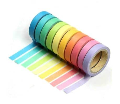 10 Bandes Washi, Rouleaux de Papier Colors, Dcoration, Bricolage,[2/7]