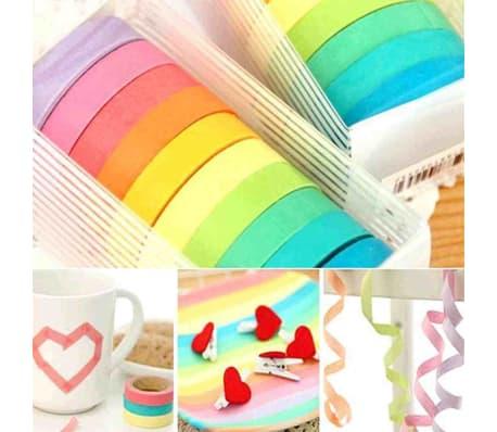10x Dekorative Regenbogen Klebeband Papier Washi Masking Tape Klebeban[6/7]