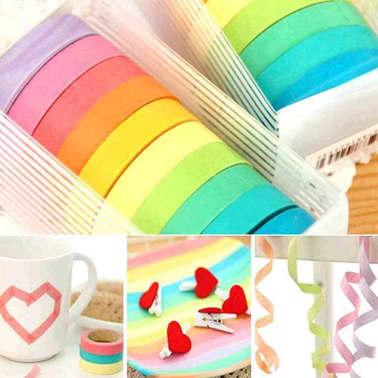 10 Bandes Washi, Rouleaux de Papier Colors, Dcoration, Bricolage,[6/7]