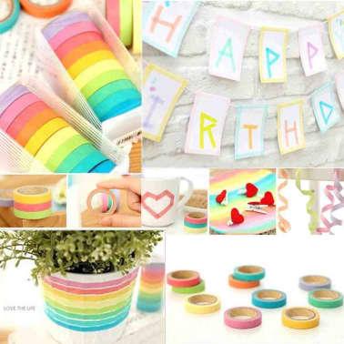 10 Bandes Washi, Rouleaux de Papier Colors, Dcoration, Bricolage,[7/7]