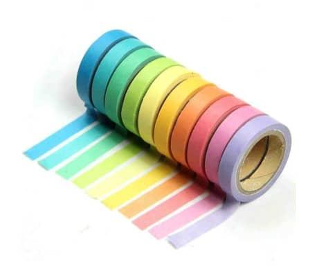 10 Bandes Washi, Rouleaux de Papier Colors, Dcoration, Bricolage,[1/7]