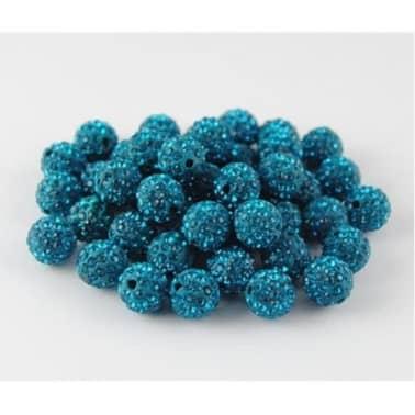 10 piezas mayoristas bola disco cuentas shamballa azul turquesa 10mm c[2/7]