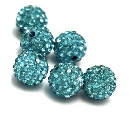 10 piezas mayoristas bola disco cuentas shamballa azul turquesa 10mm c[3/7]