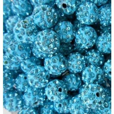 10 piezas mayoristas bola disco cuentas shamballa azul turquesa 10mm c[5/7]
