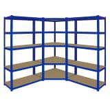 Monster Racking T-Rax Corner Shelving Unit & 2x 90cm Storage Bays Blue