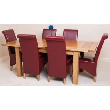 Cool Seattle Oak 150Cm Extending Table With 6 Montana Red Leather Frankydiablos Diy Chair Ideas Frankydiabloscom