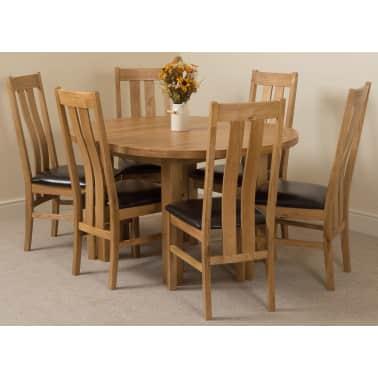 Edmonton Solid Oak 110cm Extending Dining Table 6 Princeton Chairs