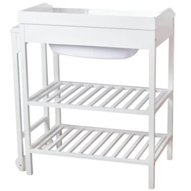 Acheter baninni table langer avec baignoire lavi bois - Table a langer en bois avec baignoire ...