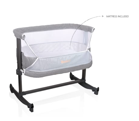 baninni 2 in 1 babybett wiege nesso grau bnbt014 gy g nstig kaufen. Black Bedroom Furniture Sets. Home Design Ideas