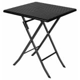 Perel Folding Table with Wicker Pattern Square Black FP62R
