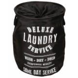 Perel Bolsa para la ropa sucia redonda yute negra HP100205