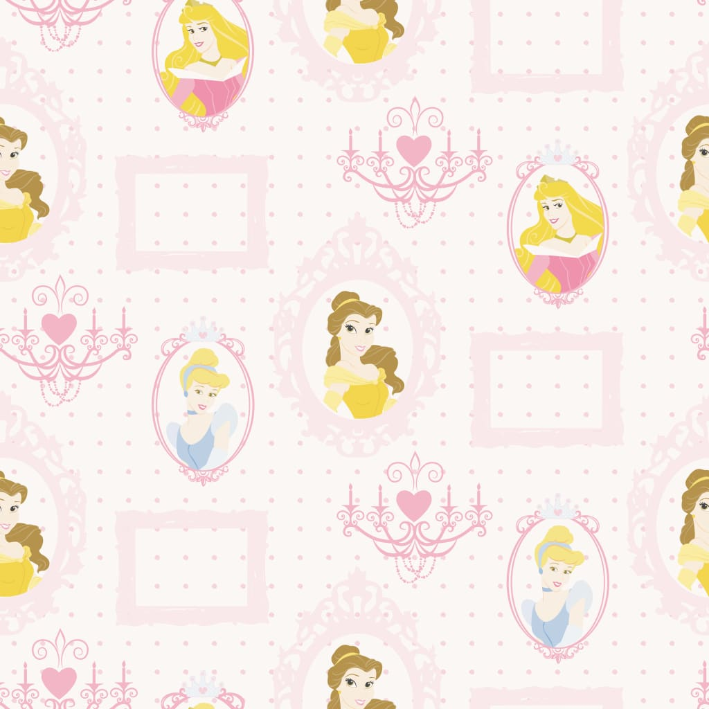 Kids at Home Tapet Princess Frames, alb și roz poza 2021 Kids at Home