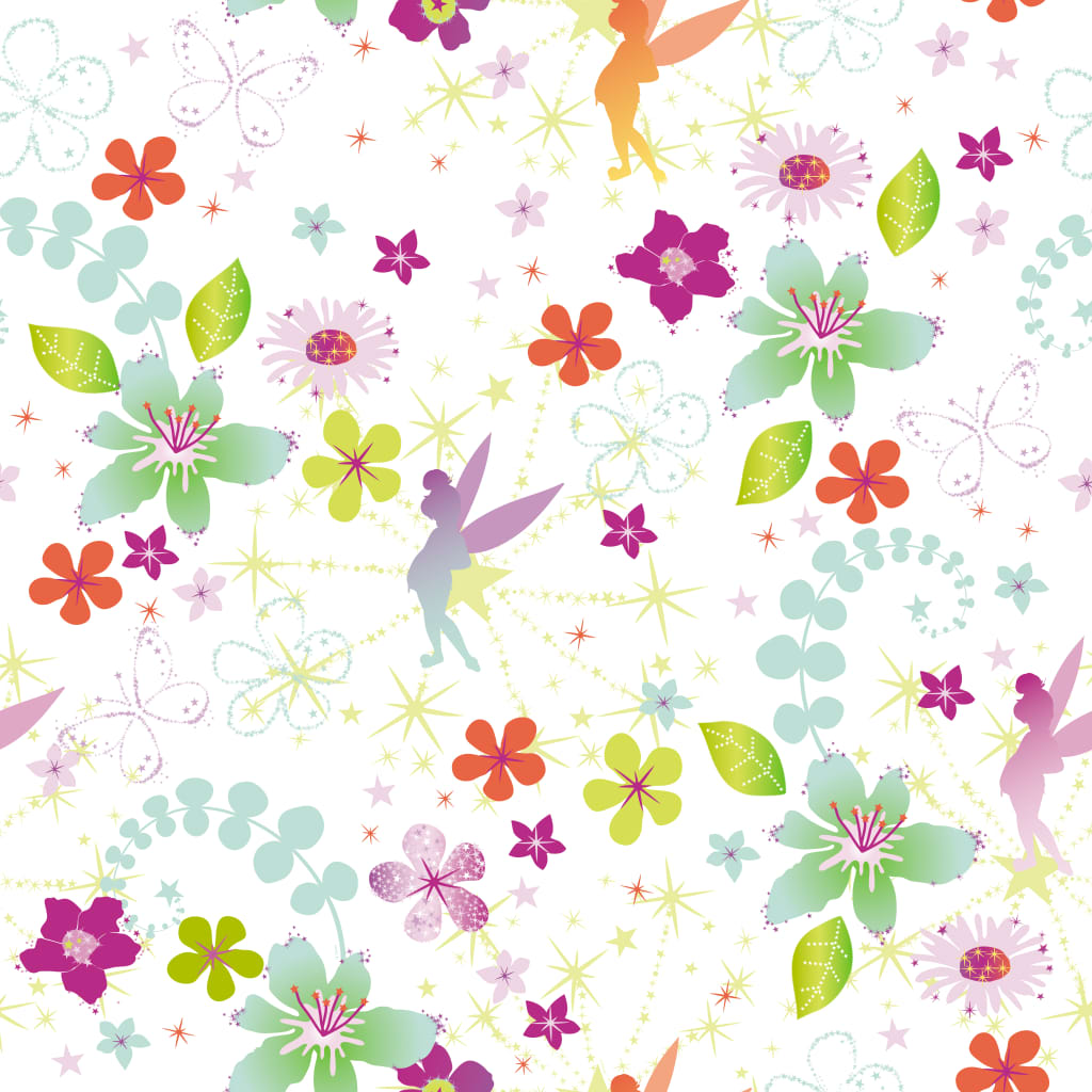 Kids at Home Tapet Tinkerbell Retro, alb și roz vidaxl.ro