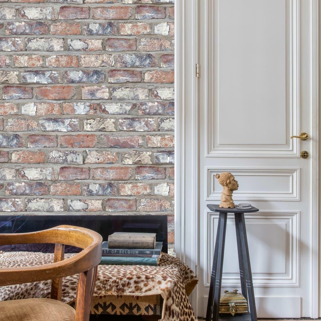DUTCH WALLCOVERINGS Behang bakstenen meerkleurig EW3103