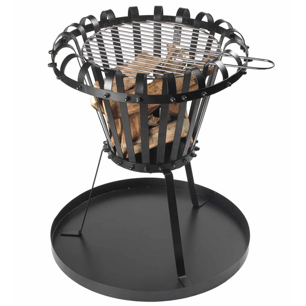 Perel Coș de foc cu tavă de cenușă, negru, rotund, BB650 poza 2021 Perel