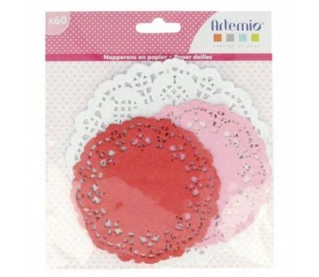 Artemio 60 napperons ronds papier rose-rouge-blanc Ø 10-14 cm