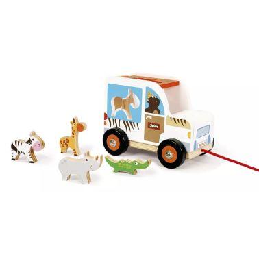 Scratch trekfiguur sorteerwagen safari wit 18 cm[1/1]