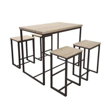 Table haute avec tabourets industrielle Dock - Noir[1/2]