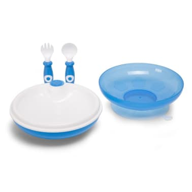 CHILDHOME Assiette chauffante avec fourchette et cuillère Bleu[2/2]