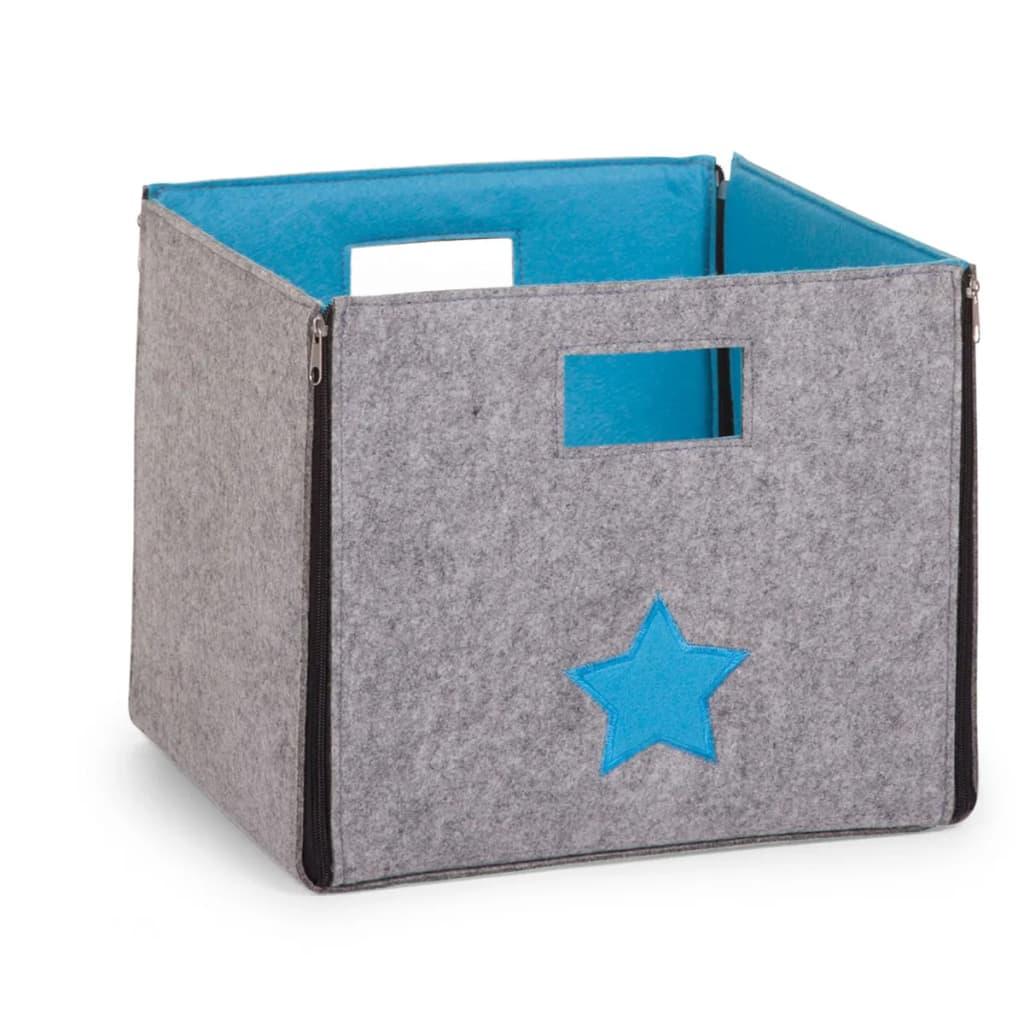 Afbeelding van CHILDWOOD Opbergdoos inklapbaar Star grijs en turquoise CCFSBST