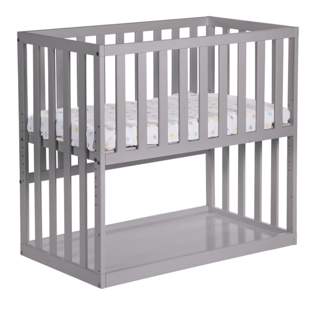 99410702 CHILDWOOD Baby-Beistellbett 50x90 cm Buche Grau BSCNSG