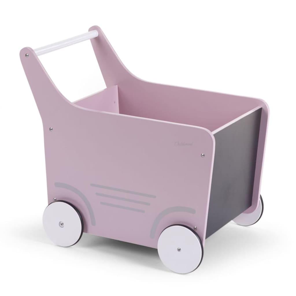 Houten loopwagentje roze
