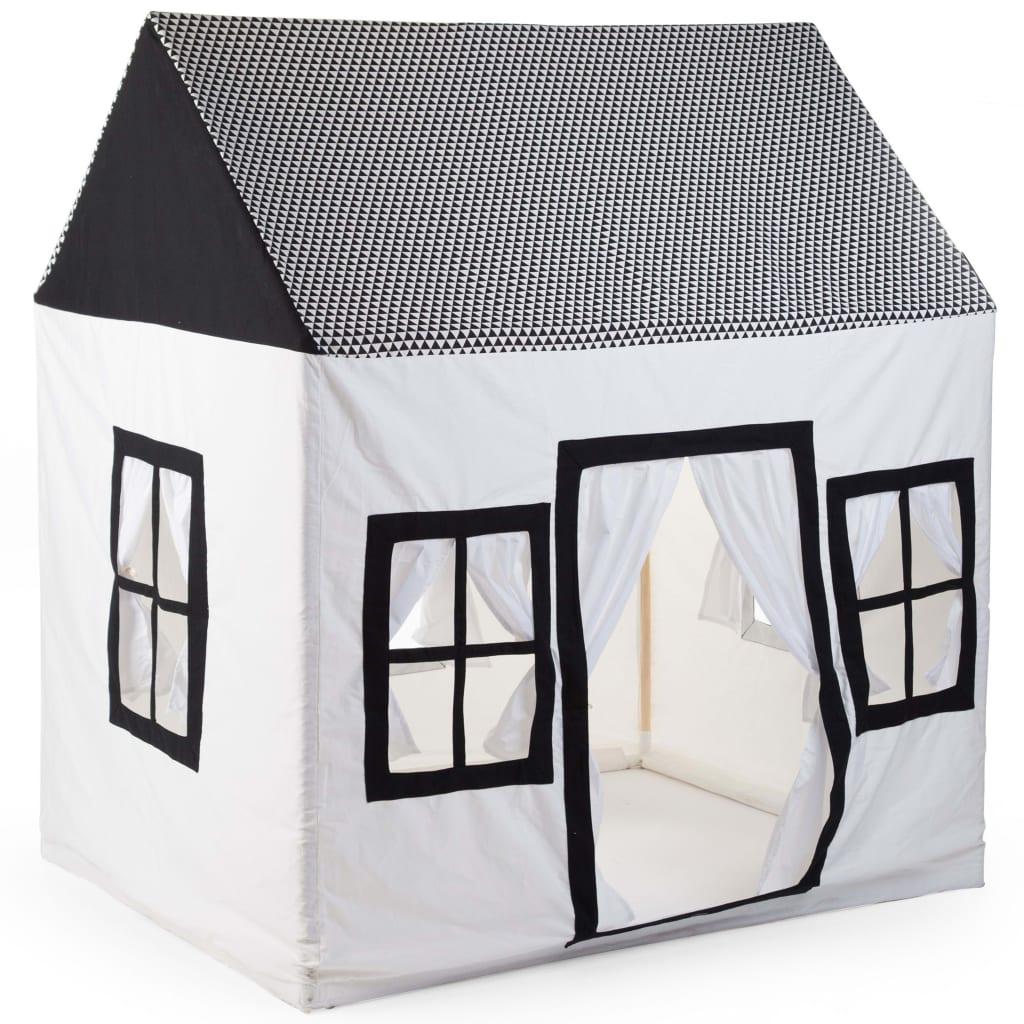CHILDHOME Căsuță de joacă, alb și negru, 125 x 95 x 145 cm, pânză imagine vidaxl.ro