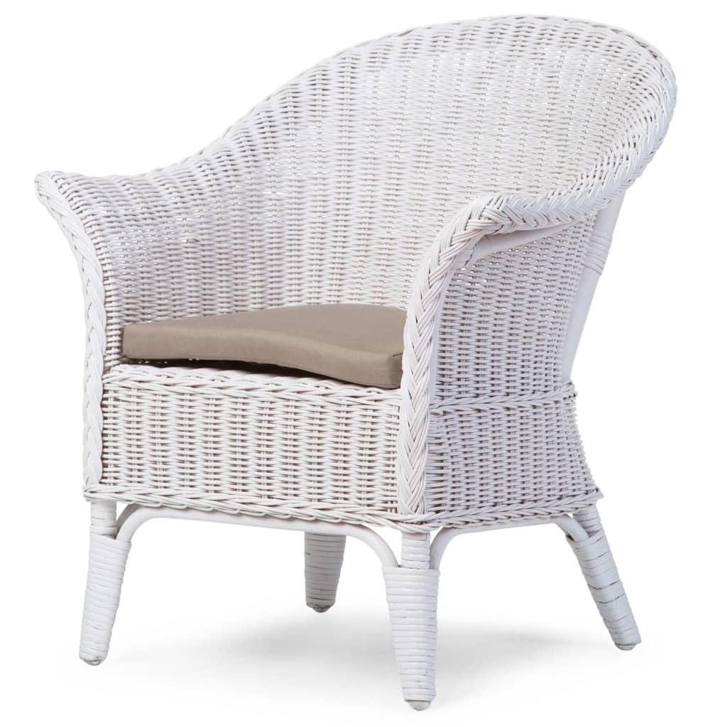 CHILDHOME Wiklinowe krzesło z poduszką dla dzieci Mimo, białe