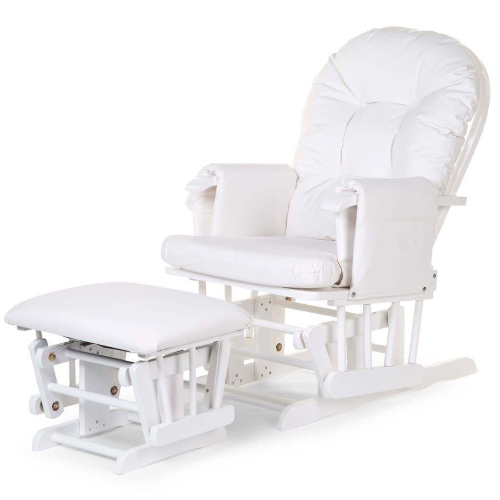 CHILDHOME Scaun balansoar cu suport pentru picioare, alb, PU imagine vidaxl.ro